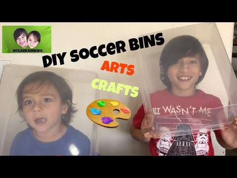VEGANFAMKIDS decorate DIY Arts & Crafts shoe bins for kids!