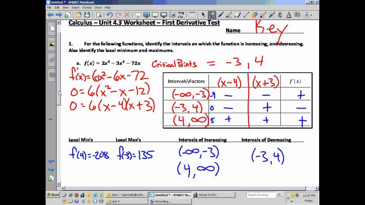 Calculus Unit 4 3 Worksheet First Derivative Test Video