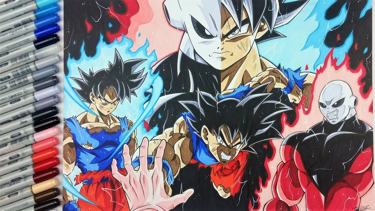 Drawing Goku Ultra Instinct vs Jiren | EPIC Fight