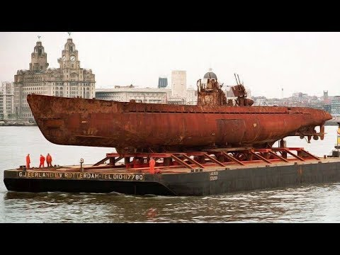 Raising of WWII German submarine U-534 from the bottom sea