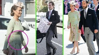 Pregnant Pippa Middleton heads to Harry and Meghan's wedding in a floral summer dress with James