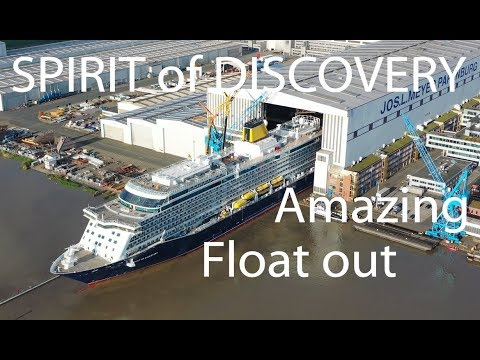 4K| Amazing Float out SPIRIT OF DISCOVERY | First new Ship for Saga Cruises | Meyer Werft Shipyard