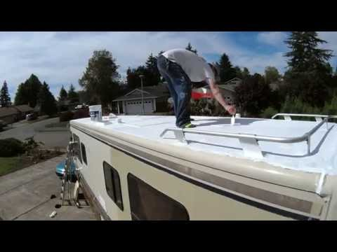 RV ROOF REPAIR (Part 3) - Applying Lap Sealant & Henry's Solar Flex 287