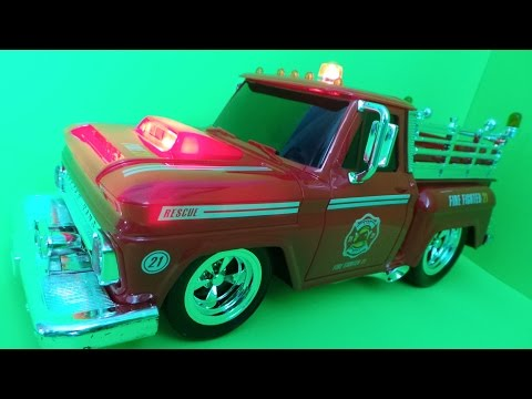 🔥🚒 KidiRace American RC Fire Truck Unboxing & First Look. Fire Engine 21 - Slow Motion Crashes