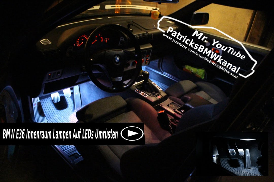 bmw e36 innenraum lampen auf leds umr sten youtube. Black Bedroom Furniture Sets. Home Design Ideas