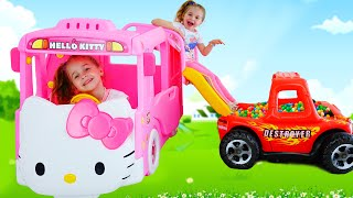 Nadia & New Hello Kitty Bus - Wheels on the bus Song for kids