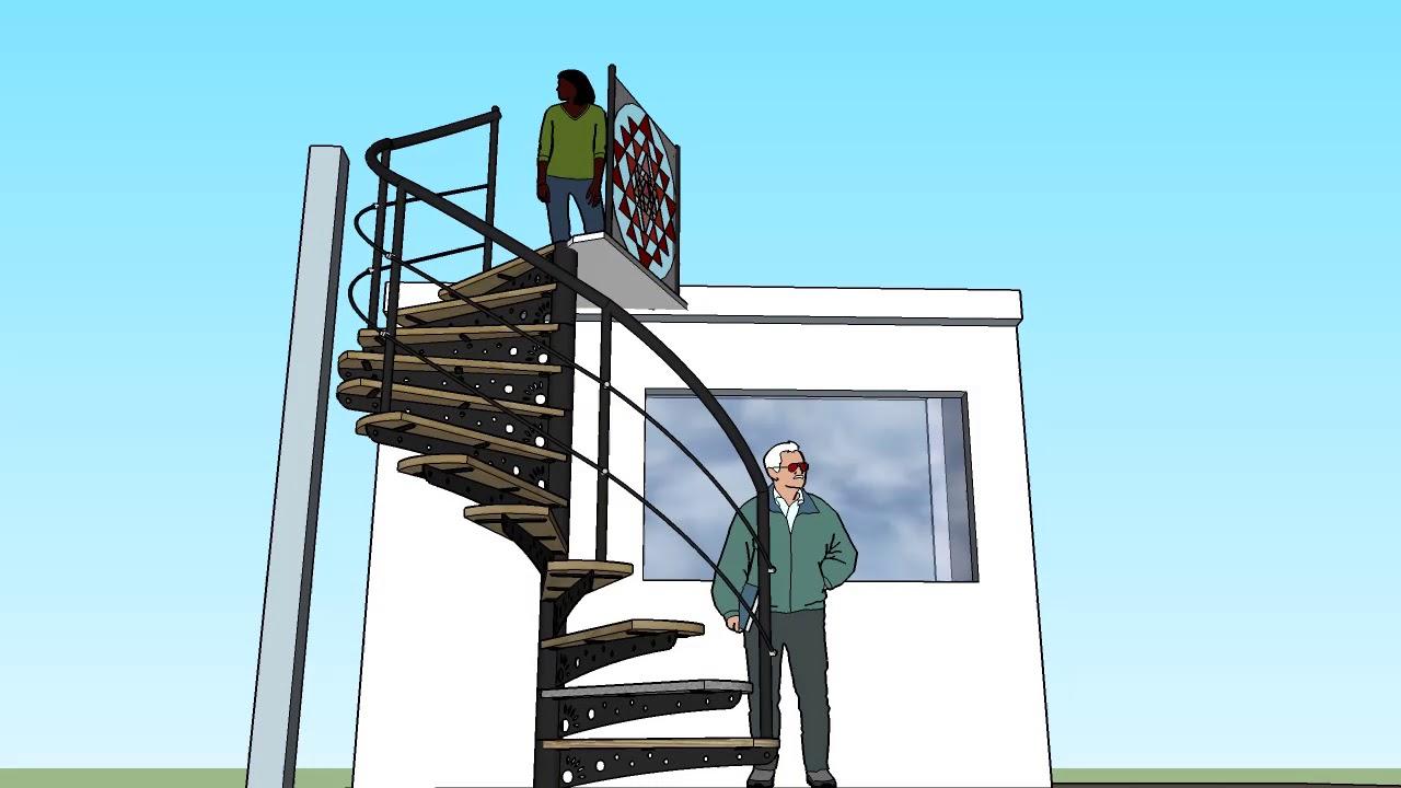 Dise o de escalera semi caracol con skepchut youtube - Escaleras semi caracol ...