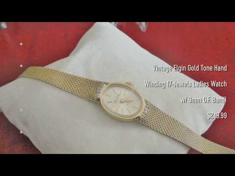 Manolo Watches - Vintage Elgin Gold Tone Hand Winding 17-Jewels Ladies Watch W/ 9mm G.F. Band!