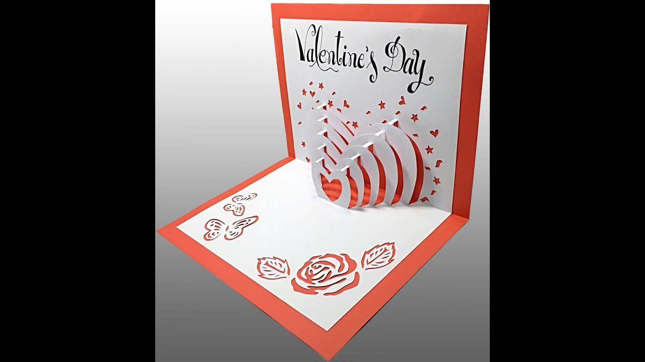 Valentines Day PopUp Card Tutorial YouTube – Pop Up Valentines Day Card