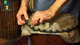 Djembe Repair & Rehead - Installing Goat Skin on Djembe Drum