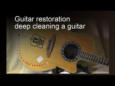 Guitar restoration - remove stickers and deep clean a guitar
