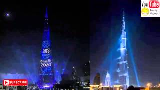 Amazing NewYear 2015 fire works and World Record LED show Burj Khalifa Dubai