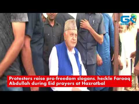 Protesters raise pro-freedom slogans, heckle Farooq Abdullah during Eid prayers at Hazratbal
