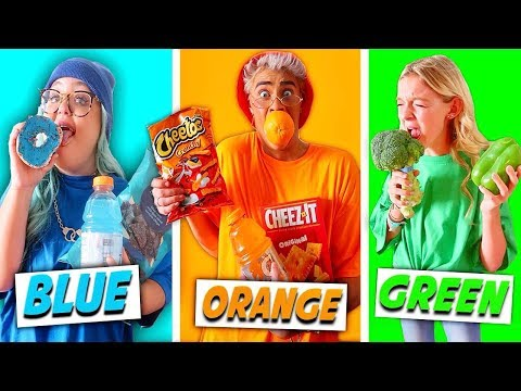 EATING ONLY ONE COLORED FOOD FOR 24 HOURS! (Rainbow Food Challenge)