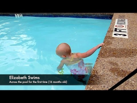 Baby Elizabeth Swims Across Pool