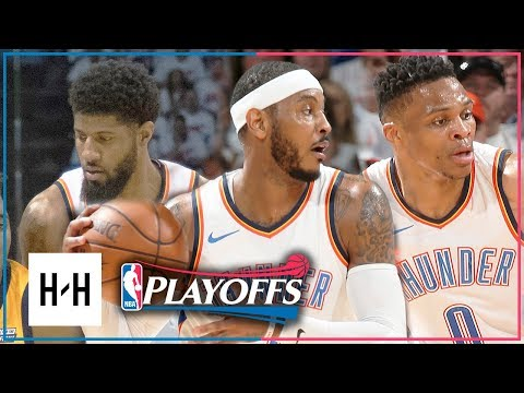 OKC Thunder BIG 3 Full Game 2 Highlights vs Jazz 2018 Playoffs - Westbrook, Paul George & Carmelo