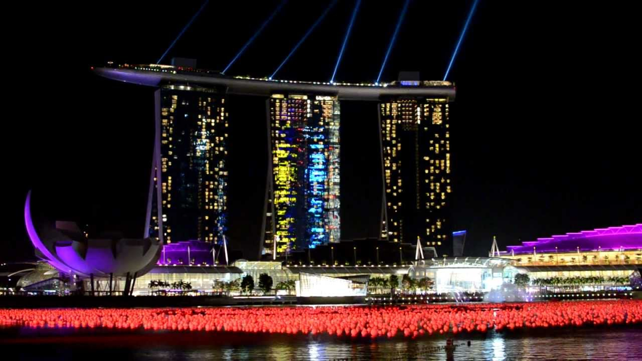 hd marina bay sands laser show light show singapore youtube
