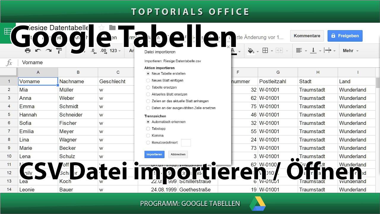 CSV Dateien importieren / Öffnen (Google Tabellen / Spreadsheets ...