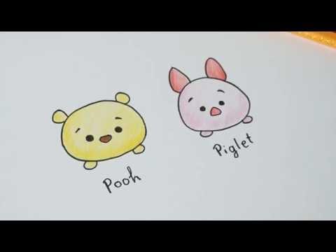 สอนวาดหมีพูห์ พิกเล็ต How to draw Pooh and Piglet Disney Tsum Tsum