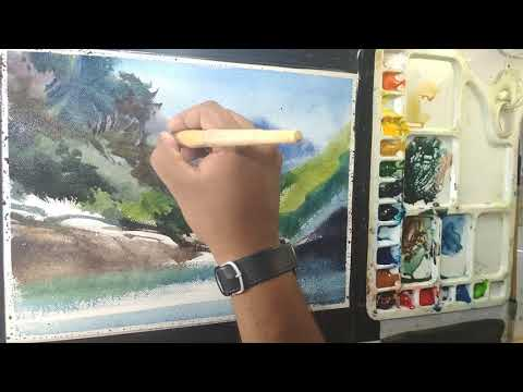 watercolour landscape painting demonstration by art explain