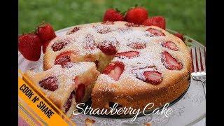 Easy One Bowl Strawberry Cake
