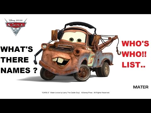 DISNEY CARS names of characters in the movie film big list