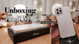 iPhone12 Pro Max 128gb Unboxing🍎 +Accessories | Aesthetic | 🍎