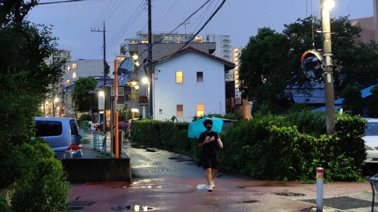 4K Rainy Japan Night Walk - Local Streets in Takatsu (Kawasaki - Near Tokyo) - Slow TV
