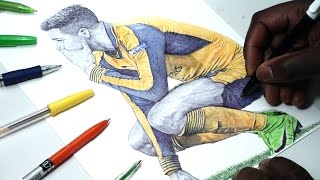 Alexis Sanchez Pen Drawing - What Is On His Mind?? - Arsenal FC - DeMoose Art