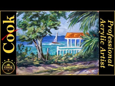 Cozumel Beach Club an Acrylic Painting Tutorial for Beginner and Advanced Artists by Ginger Cook