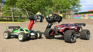 WLToys A959-B vs Traxxas Mini E-Revo VXL! GPS Speed Test & Jump Competition! High Speed RC Cars!