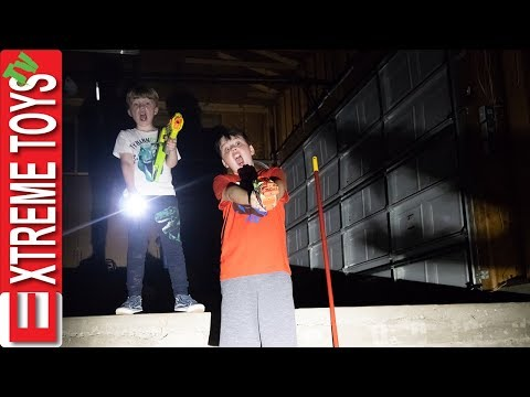 Exploring Spooky Garage and Nerf Battle in New House!