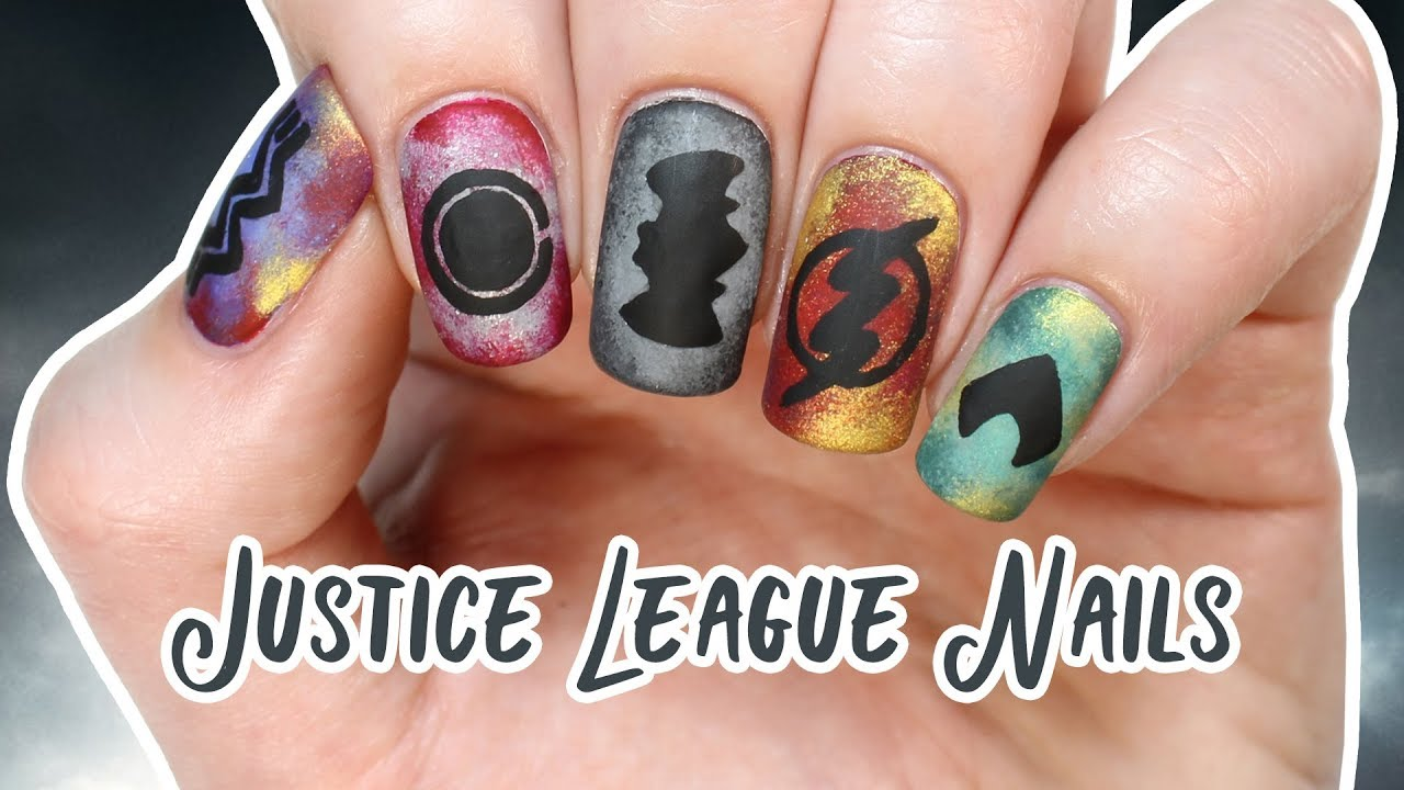 Justice League Nails - hand-painted Batman and The Flash nails ...