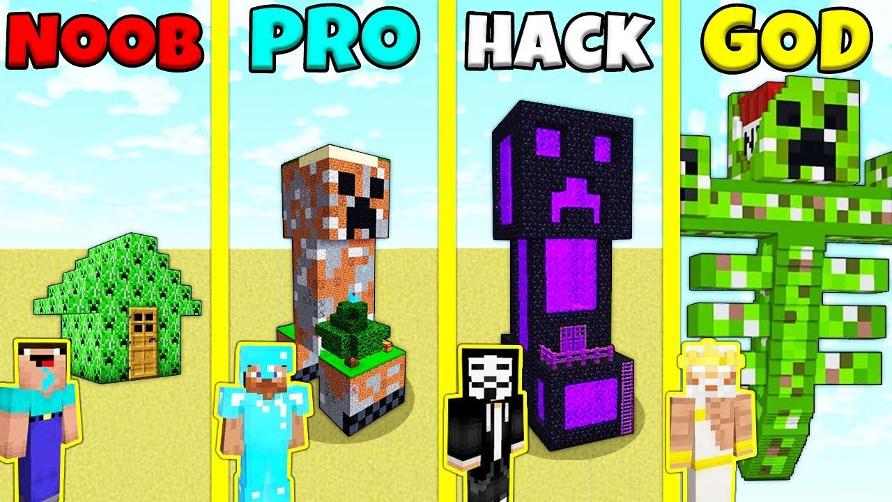 Minecraft Battle: NOOB vs PRO vs HACKER vs GOD: CREEPER STATUE HOUSE BUILD CHALLENGE / Animation