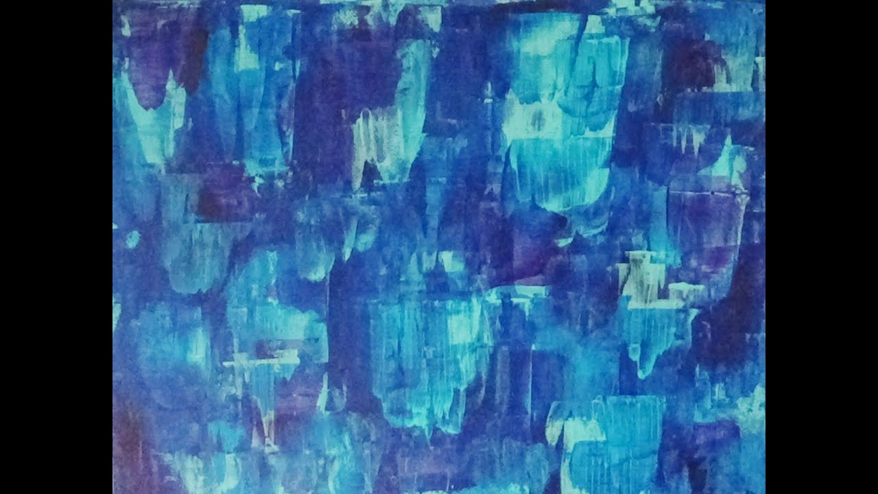 acrylic abstract background painting - blue streaks - youtube