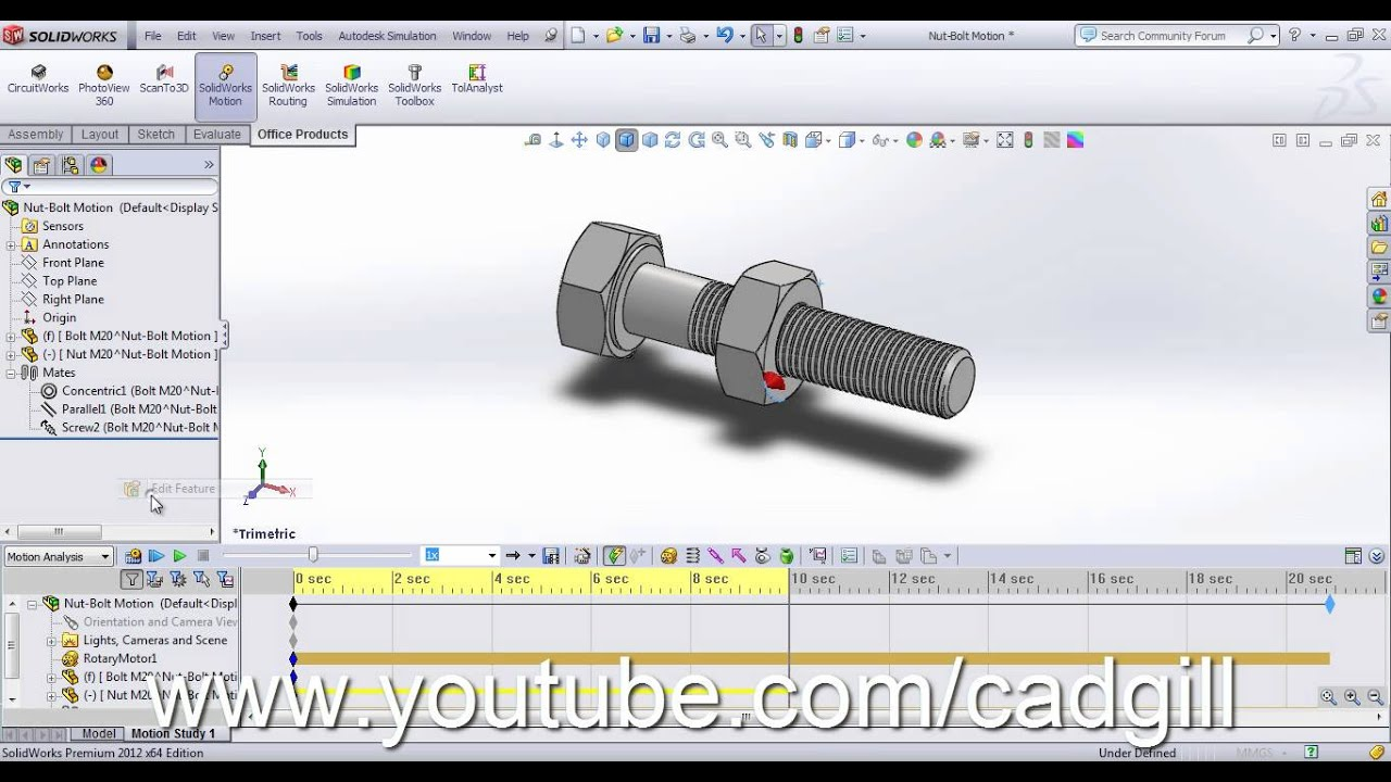 Video tutorial nut bolt in solidworks part 04 creating video tutorial nut bolt in solidworks part 04 creating motion study using solidworks motion baditri Image collections
