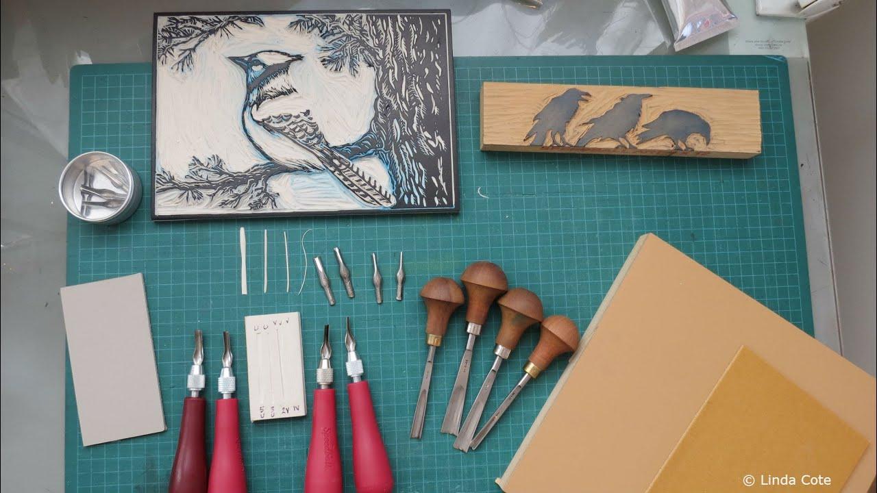 Linda cote printmaking supplies: lino carving tools youtube