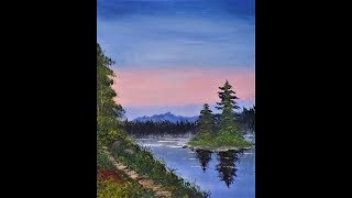 Learn how to paint a Bob Ross inspired landscape painting with Acrylic Paints Lesson 2