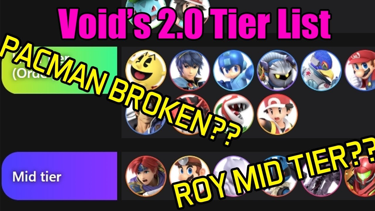 Super Smash Flash 2 Tier List 2020.Void Releases His 2 0 0 Super Smash Bros Ultimate Tier List