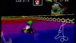 Luigi Travels the Rainbow Road in Mario Kart 64