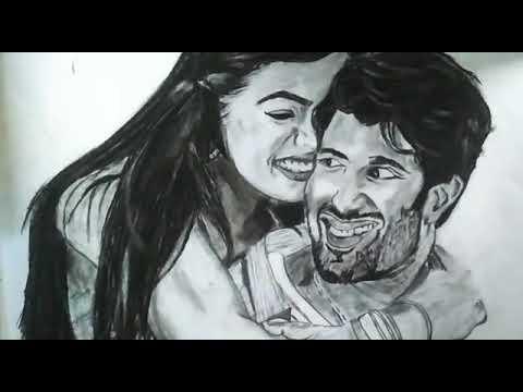 pencil drawing of Vijay deverakonda and rashmika mandanna# ...