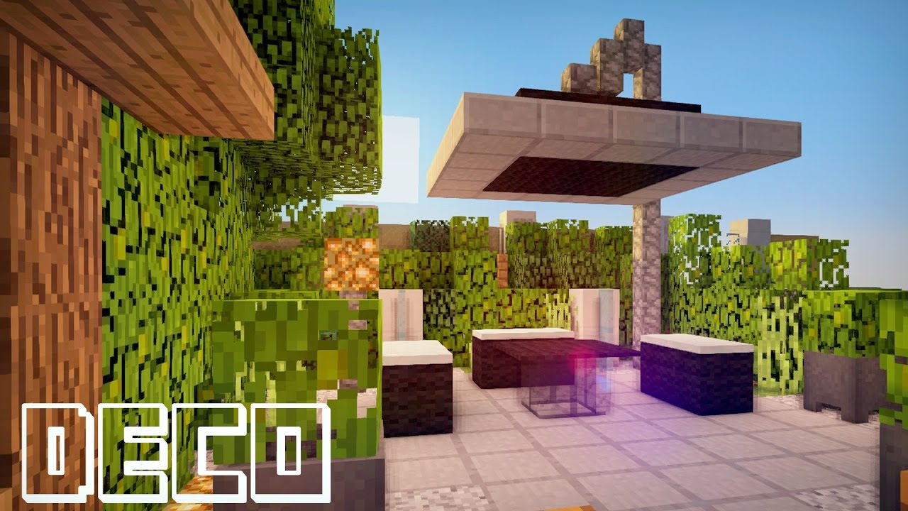 Minecraft creer un jardin moderne youtube for Terrasse jardin moderne