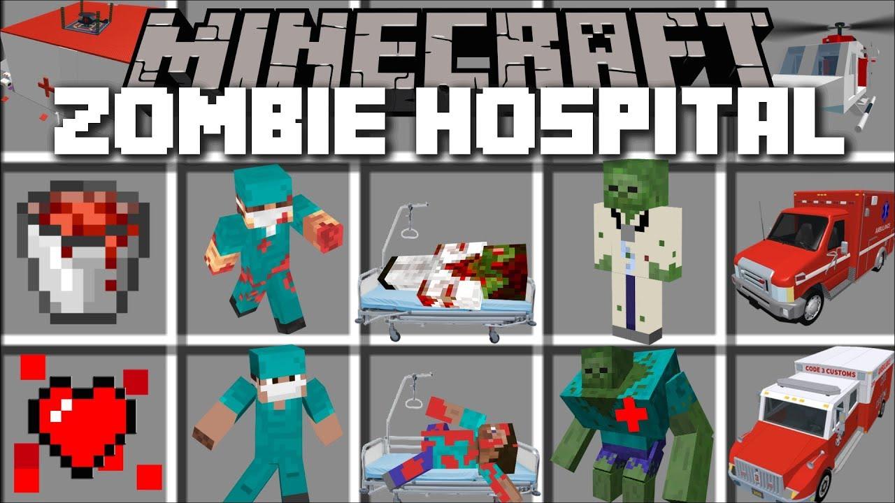 Minecraft ZOMBIE HOSPITAL MOD / FIGHT OFF EVIL ZOMBIES ATTACKING THE HOSPITAL!! Minecraft