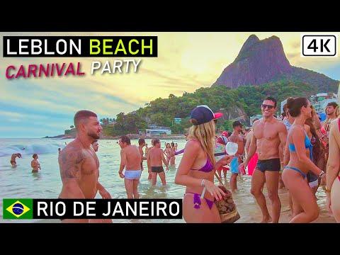 Rio de Janeiro Carnival 🇧🇷 Leblon Beach Party   Walking on Leblon Beach   Brazil【4K】 2021