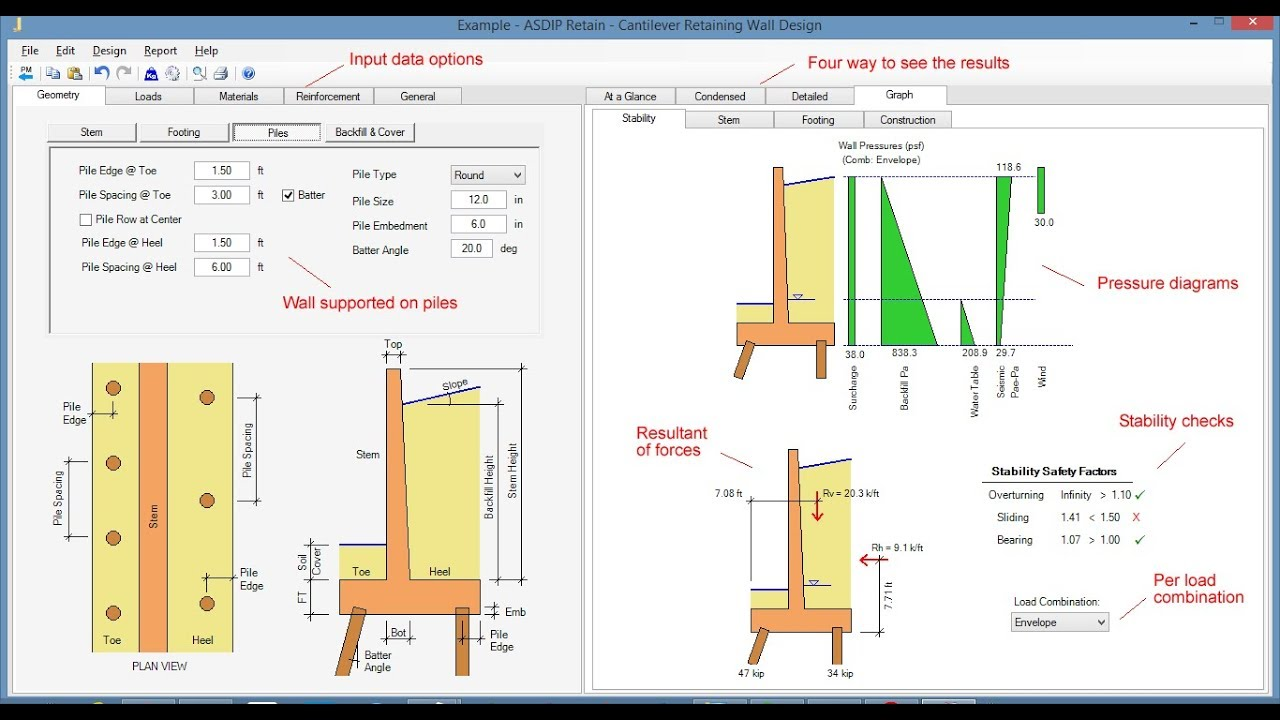 Cantilever Pile Supported Retaining Wall Design Software