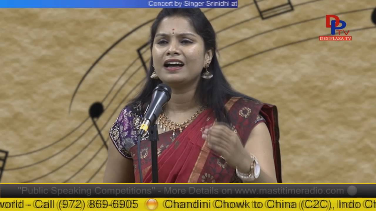 Part 4.Srinidhi giving Carnatic concert at Desiplaza Studio,Irving,Texas