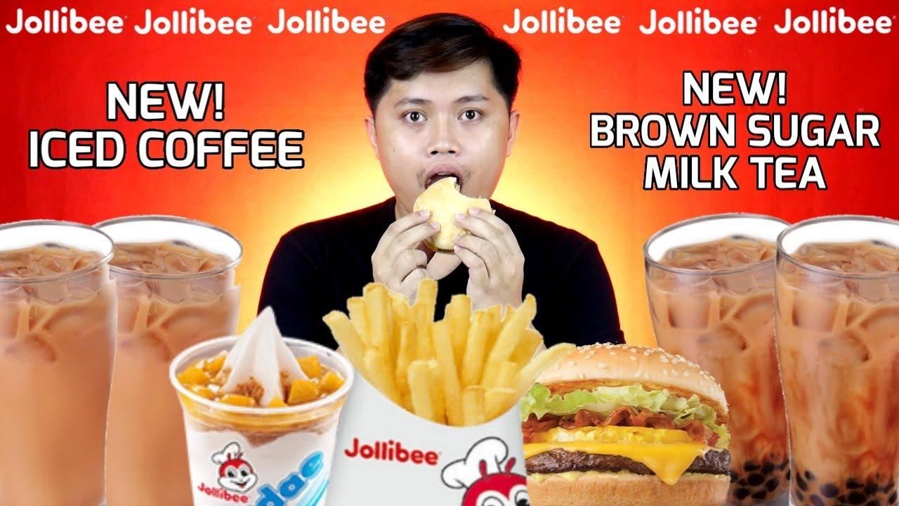 JOLLIBEE MUKBANG (New Iced Coffee and Brown Sugar Milktea ...