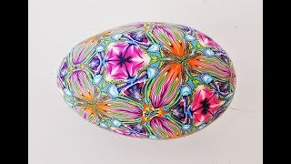 Polymer Clay Kaleidoscope Cane - Covering a Goose Egg