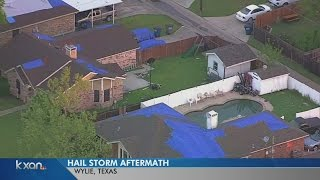 Softball size hail hits Dallas suburb of Wylie