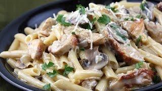 Паста с курицей и грибами в сливочном соусе!